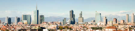 Milano (Włochy), skyline panoramiczny collage (o wysokiej jakosci) Zdjęcie Seryjne