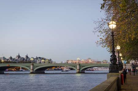 riverfront: London, Westminster Bridge and riverfront Stock Photo