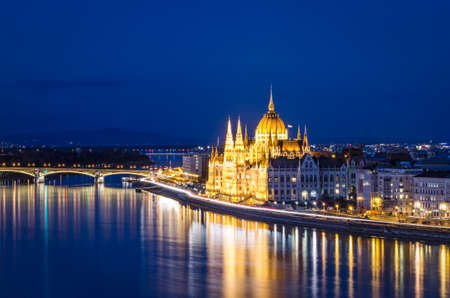 Budapest, Parliament and Danube at night photo