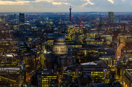 London, St Paul Cathedral and skyline at night photo