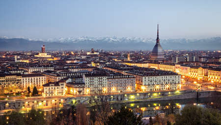 Turin (Torino), panorama at blue hour