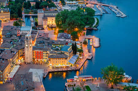 turism: Lake Garda, Town of Riva del Garda, Italy (blue hour)