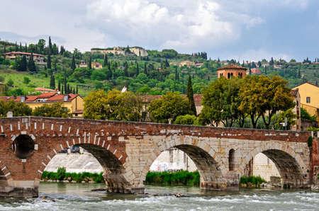 verona: Verona (Italy), Ponte Pietra Stock Photo