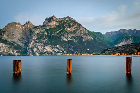 morning blue hour: Lago di Garda, view from Torbole at early morning