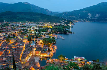 blue hour: Lake Garda, Town of Riva del Garda, Italy (blue hour)