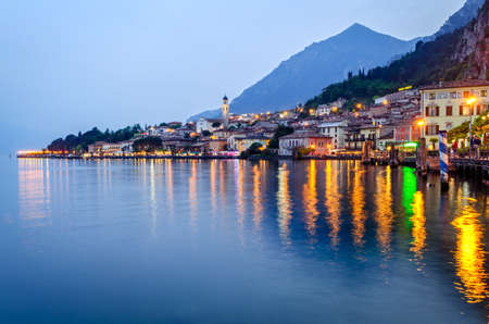 blue hour: Lake Garda, Town of Limone sul Garda (Lombardy, Italy) at blue hour