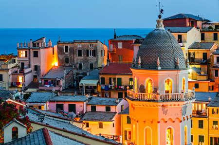 turism: Vernazza, Cinque Terre (Italian Riviera, Liguria) at twilight