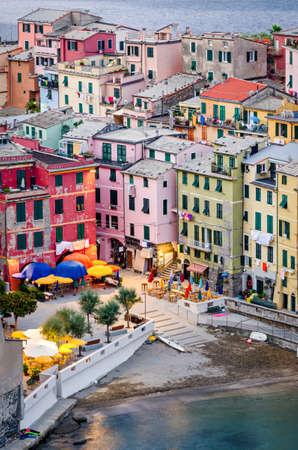 ''cinque terre'': Vernazza, (Cinque Terre, Italian riviera), houses detail Stock Photo