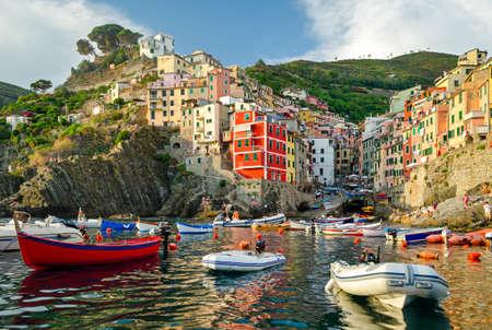 cinque: Riomaggiore, Cinque Terre (Italian Riviera, Liguria) at sunset