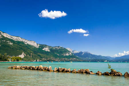 mountain oasis: Annecy Lake(France) Stock Photo