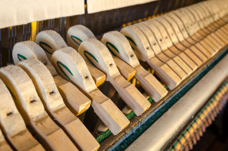 upright piano: Upright piano hammers detail