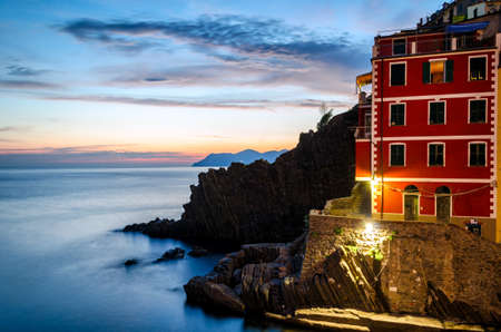 liguria: Riomaggiore (Cinque Terre Liguria Italy) at twilight Stock Photo