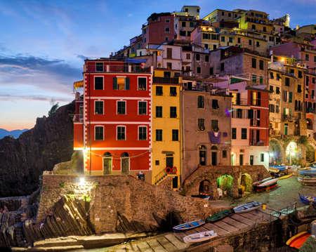 ''cinque terre'': Riomaggiore (Cinque Terre Liguria Italy) at twilight Stock Photo