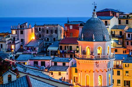 cinque: Vernazza (Cinque Terre Italy) at twilight Stock Photo