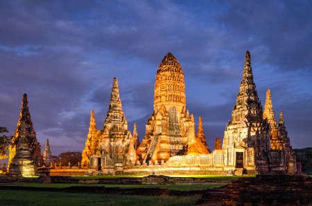 Ayutthaya (Thailand) Wat Chaiwatthanaram temple (old ruins) Stock Photo