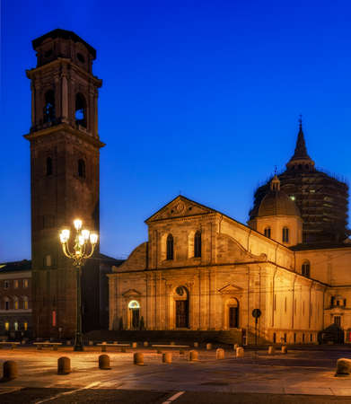 shroud: Duomo di Torino (Turin Cathedral) at blue hour Stock Photo