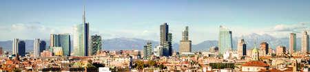 Milan (Milano) panoramic skyline with new skyscrapers 版權商用圖片