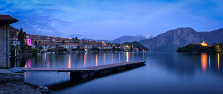 morning blue hour: Lago di Como (Lake Como) Ossuccio and Isola Comacina at blue hour Stock Photo
