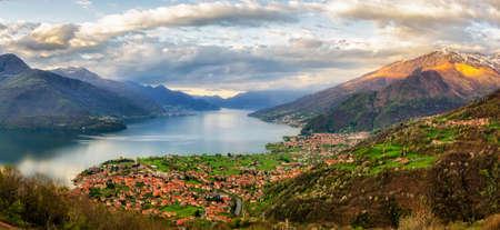 high definition: Lago di Como (Lake Como) high definition panorama from Peglio at sunrise