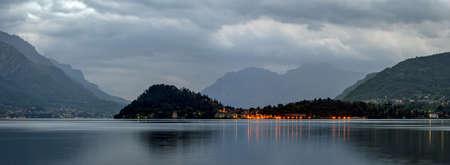 high definition: Lago di Como high definition landscape with Bellagio at dawn