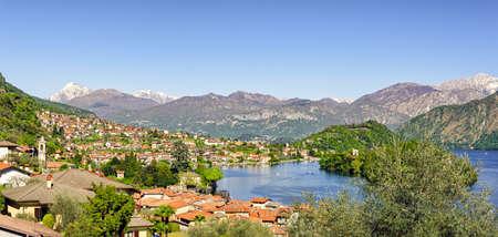definition high: Lago di Como (Lake Como) high definition scenery with Sala Comacina and Ossuccio (view from the greenway walk) Stock Photo