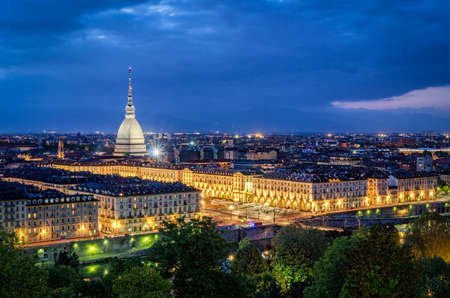 Turin (Torino), high definition panorama with Mole Antonelliana at twilight