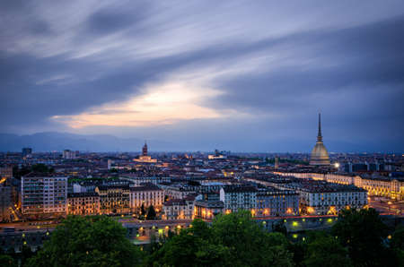 definition high: Turin (Torino), high definition panorama at twilight1 Stock Photo