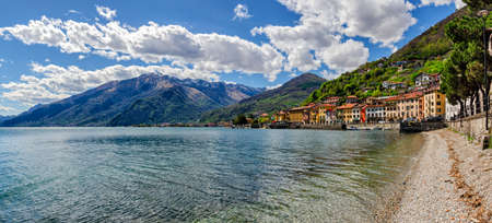 morning blue hour: Lago di Como (Lake Como) Domaso panoramic view Stock Photo