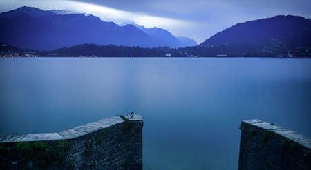 long lake: Peaceful lake landscape (long exposition)
