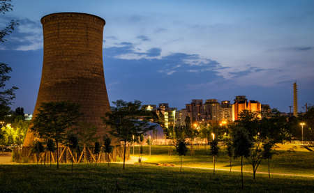 Turin (Torino) Parco Dora with former Michelin plant cooling tower