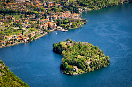 isola: Isola Comacina nel Lago di Como (Lake Como Italy) Stock Photo