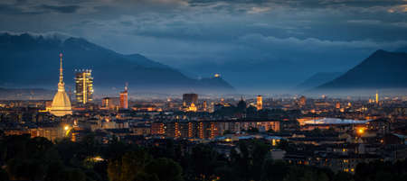 Turin (Torino) high definition panorama with all the city skyline including the Mole Antonelliana, the new skyscraper and the Sacra di San Michele in the background Banco de Imagens