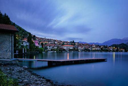 Lago di Como (Lake Como) Ossuccio at blue hour Stock Photo