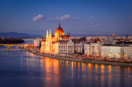 gothic revival: Budapest, Parliament at night