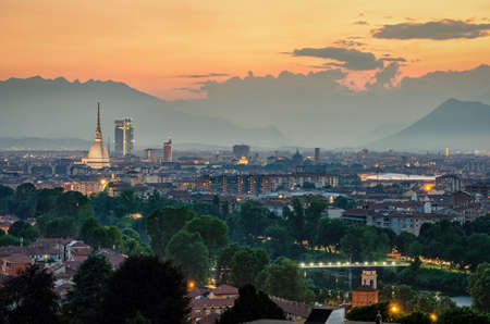 Turin (Torino) high definition panorama with the complete city skyline including the Mole Antonelliana