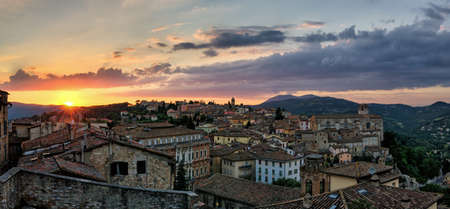 sole: Perugia (Umbria Italy) view from Porta Sole Stock Photo