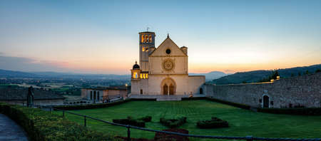 of assisi: Assisi Basilica di San Francesco (high definition panoramic) Stock Photo