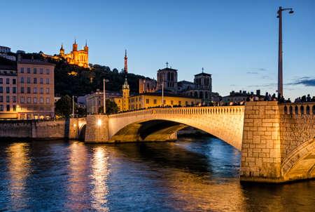 bonaparte: Lyon (France) Notre-Dame de Fourviere and pont bonaparte at blue hour