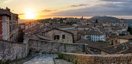 sole: Perugia panorama from Porta Sole at sunset Stock Photo