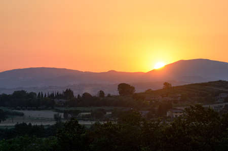 assisi: Umbria, sunset on the hills near Assisi Stock Photo