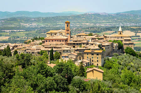 Bettona (Umbria Italy), panoramic view Stock Photo