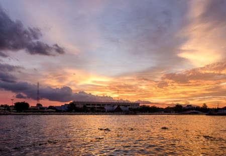 chao phraya: Bangkok scenic view on river Chao Phraya at sunset Stock Photo