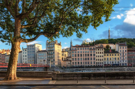 historic buildings: Lyon (France) scenic view on historic buildings at golden hour Stock Photo