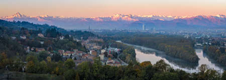 definition high: Turin (Torino) high definition panorama on the city skyline and Monviso at sunrise