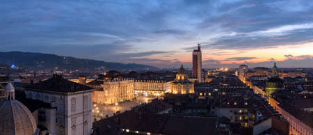 definition high: Turin (Torino) high definition scenic panorama with amazing light
