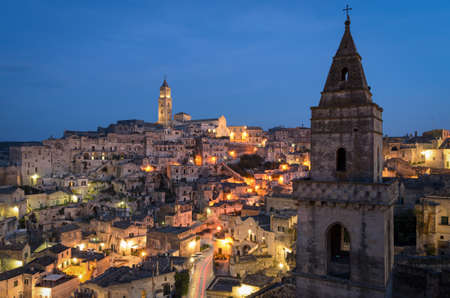 Matera, high definition view of Sasso Barisano at twilight