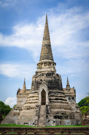 Old temple ruins in Ayutthaya Thailand