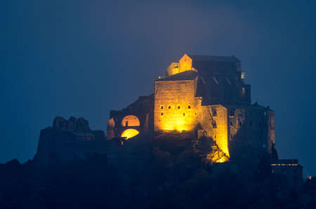 sacra: The Sacra di San Michele monastery in the cold winter mist Stock Photo