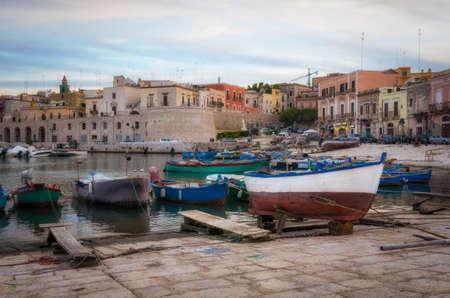 puglia: Bisceglie old port (Puglia Italy) Stock Photo