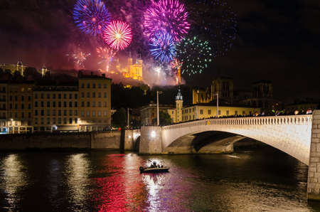 Lyon (France) fireworks on Notre-Dame de Fourviere for the National Holiday Bastille Day (14 July 2016)